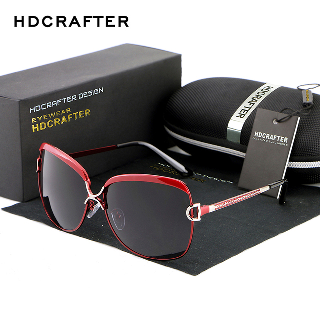 HDCRAFTER Luxury Sunglasses Women Brand Designer Female Retro Large Sun glasses UV400 oculos de sol
