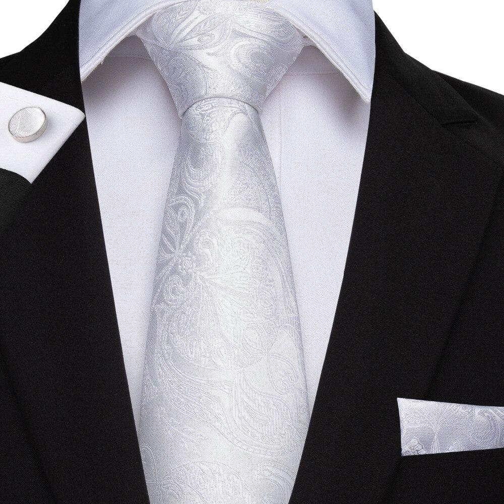 DiBanGu Mens Silk Ties With Hanky Cufflinks White Ties For Men Gift 100% Silk 8.5CM Man Necktie For Wedding Party Formal MJ-393