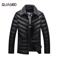 [90 white duck down] winter middle-aged men's lapel leather  down jacket PU leather Keep warm Windproof and cold-proof dad gift woolen windproof cold proof knee pad off white pair set