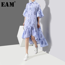 [EAM] 2018 новые летние узор нерегулярные шить оборками нерегулярные низ свободный короткий рукав Мода женское платье YC382