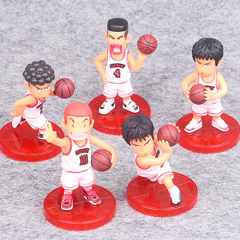 5pcs/set SLAM DUNK Shohoku Basketball Player Anime Figure Doll Hanamichi Sakuragi Rukawa Kaede Model Toy for Kids in bags image