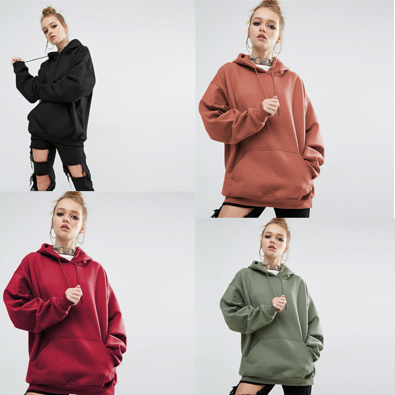 Europe and The United States New Loose Solid Color Sports Hooded Bat Sleeve Sweatshirt Black red green color Womens Clothing