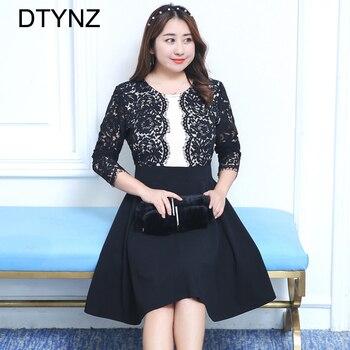 2018 Elegant Lace Dress O-neck Spring Summer Prom Maxi Vintage Party Dress Keen Length Plus Size Hollow Vestidos Black 3