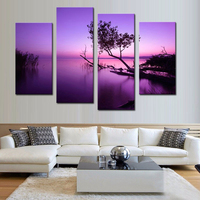 4 The Purple Lake Canvas Print On Canvas Landscape Painted Paneller Wood Wall Art Frames Ready