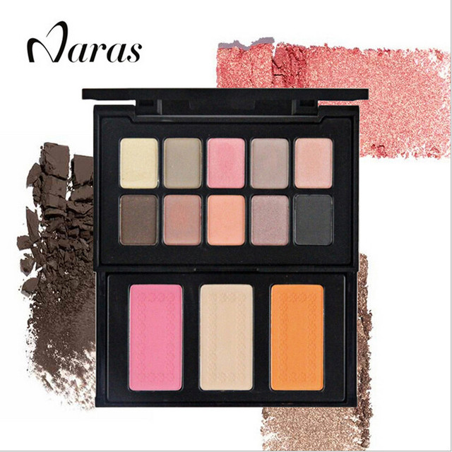 Naras brand Pro Cosmetic eye shadow dating holiday  makeup  balm nude warm colors eyeshadow Palette with Brush
