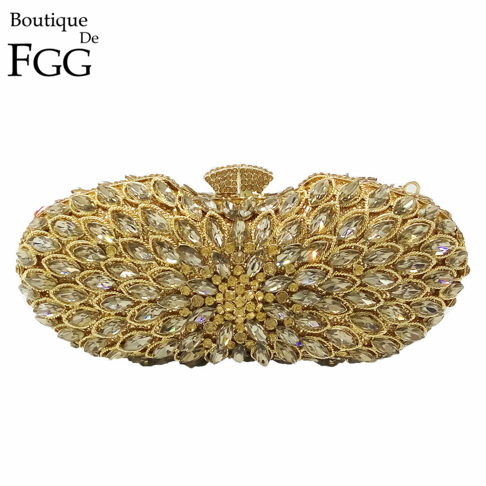 Dazzling Hollow Out Golden Evening Bag Crystal Hard Case Clutch Handbag Purse for Women Metal Clutches with Detachable Chain gold plating floral flower hollow out dazzling crystal women bag luxury brand clutches diamonds wedding evening clutch purse