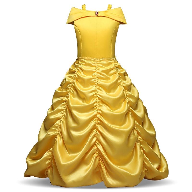 все цены на Girls Cartoon Fancy Dress Kids Yellow Shoulder Princess Costume Beauty Cosplay Party Dress Kid Long Dress Carnival Dress up онлайн