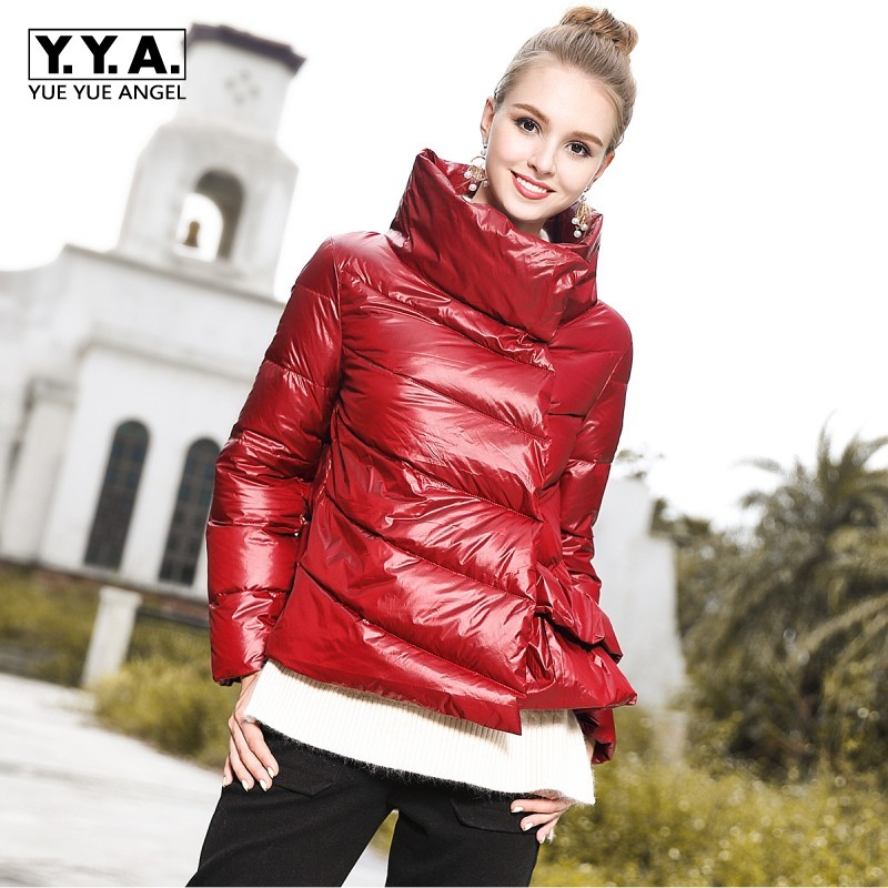 Fashion Short   Down     Coat   Women Oil Bright Black Red Warm Jacket Parkas Lady Winter Womens Casual Irregular   Down   Jacket Female