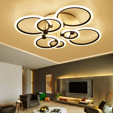 Black/White Rings Modern led ceiling Chandelier for living room bedroom Plafon home Dec AC85-265V Led Lamp Fixtures