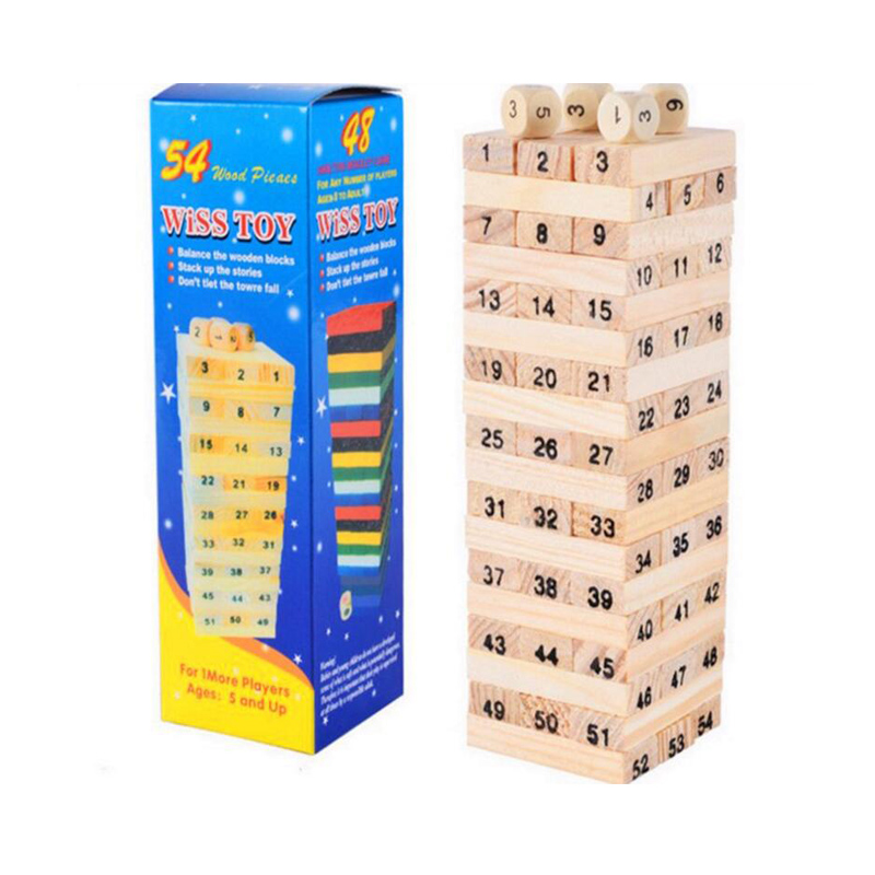 23cm Large Wooden Tower Wood Toy Domino Stacker Extract Figure Blocks Jenga Game Healthy Funny Children's Toy Draw Block Playing wooden building blocks toy domino stacker cartoon animals diy disassembling model jenga education toy for baby kids children