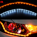 2x Flexible White/Amber Switchback LED Knight Rider Strip Light for Headlight Sequential Flasher Dual Color DRL Turn Signal 60cm