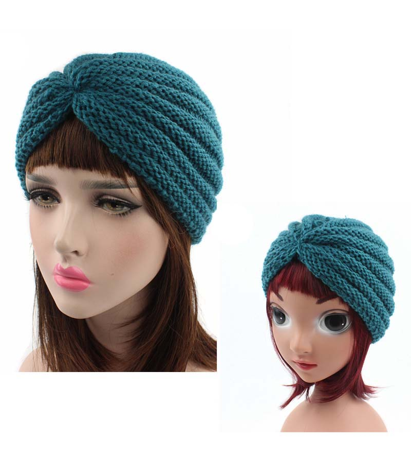 2cad81ec285 New parent-child style handmade beanie Head Cover Up hat Knit Turban  children kids winter cap 2pcs one set