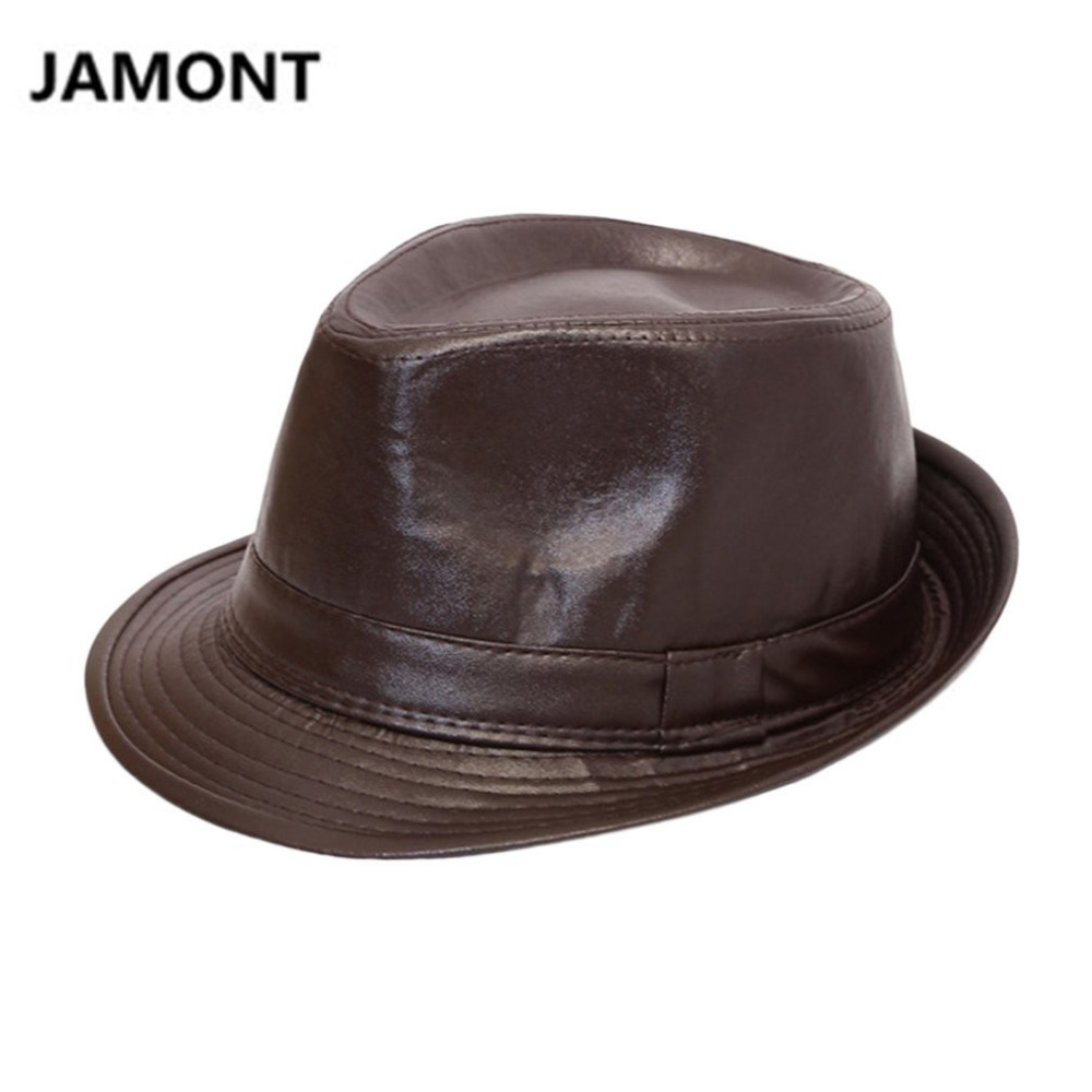 f561264ac4 JAMONT Autumn Winter Men Women Classic PU Leather Bowler Hats British Style  Panama BOWLER HAT Cowboy Gentleman Casual Top Hats