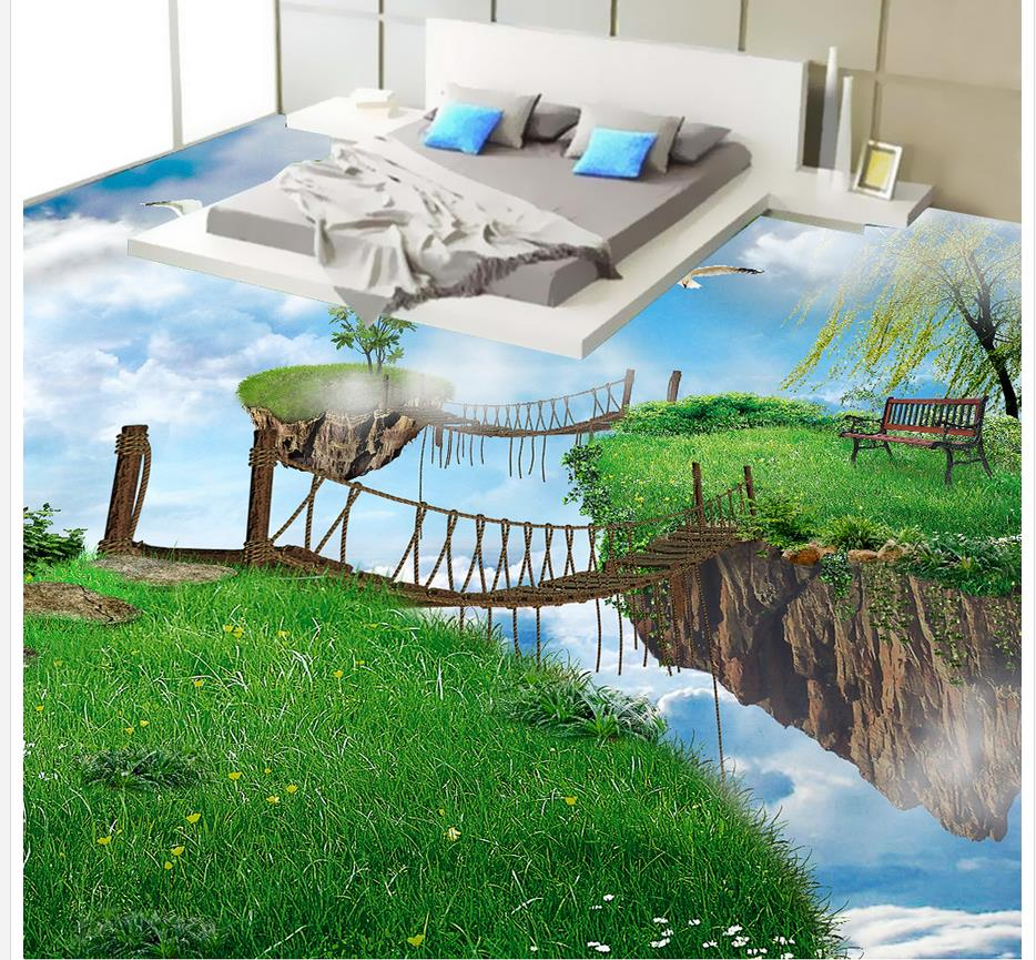 Sky Island Wooden Corridor 3D Floor pvc floor wallpaper waterproof wallpaper for bathroom wall