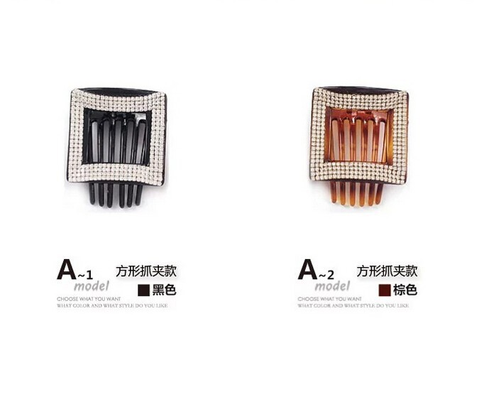 Ab White Rhinestone Crystal Hair Pins Rhombus Plastic Dish Hair Clip Claw  Medium Side Slide-in Hair Claw Black Brown AB03 10d09cd2146b