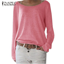 Zanzea T Shirt Women 2018 Spring Top Casual O Neck Long Sleeve Shirt Cotton T-Shirts Tops Solid Knitted Blusas Plus Size S-2XL