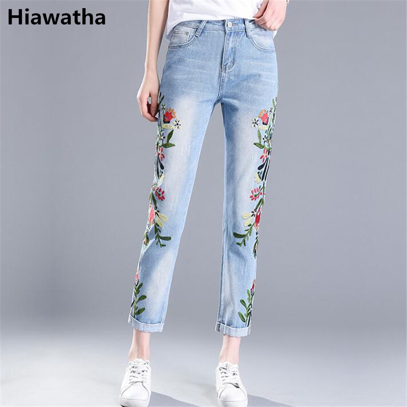 Hiawatha 2017 New Spring Summer Jeans Women Fashion Flower Embroidery High Waist Denim Pants Fashion Ankle-Length Pants JST006 2017 spring new women sweet floral embroidery pastoralism denim jeans pockets ankle length pants ladies casual trouse top118