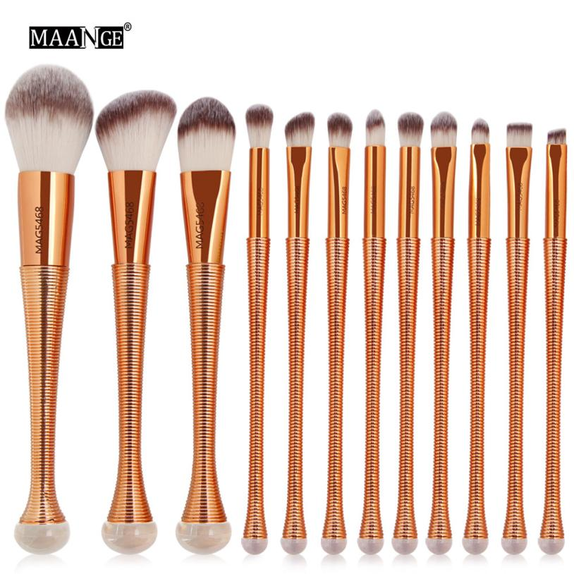 12PCS Cosmetic Makeup Brush Mermaid Brushes Set Foundation Powder Eyeshadow Professional Tool Kit Lip brochas maquiagem 9.25 4 pcs golden professional makeup brushes waistline sculpting brush set cosmetic tool maquiagem accessories with original box