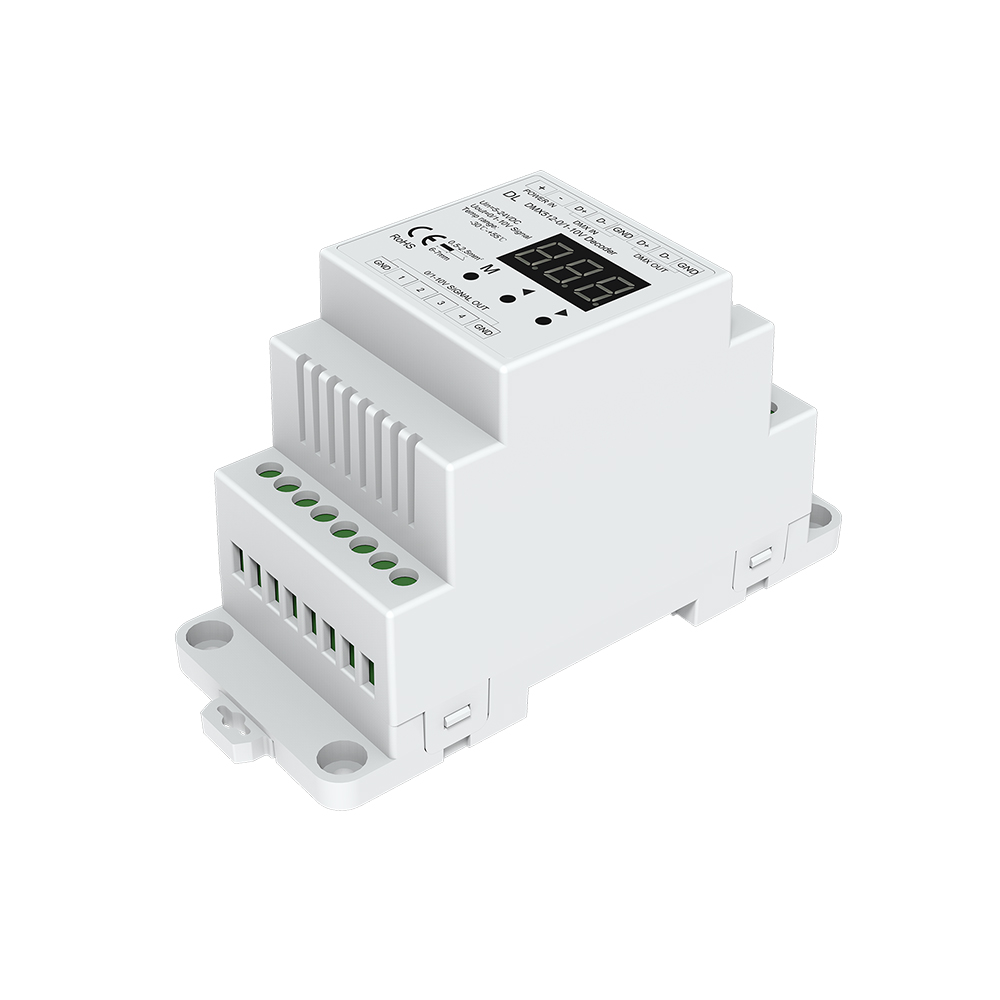 DMX512 to 4CH 0-10V Decoder 0-10V LED Dimmer DMX512 Signal to 0-10V Signal RGB / RGBW controller 4 Channel Dimmer 5-24V