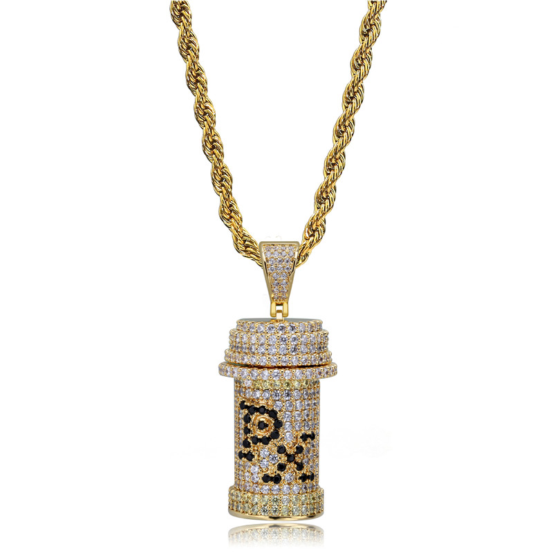 Hip Hop Jewelry Poison Bottle PX Pendant Necklace New Arrival AAA Cubic Zirconia Iced Out Mens Necklace