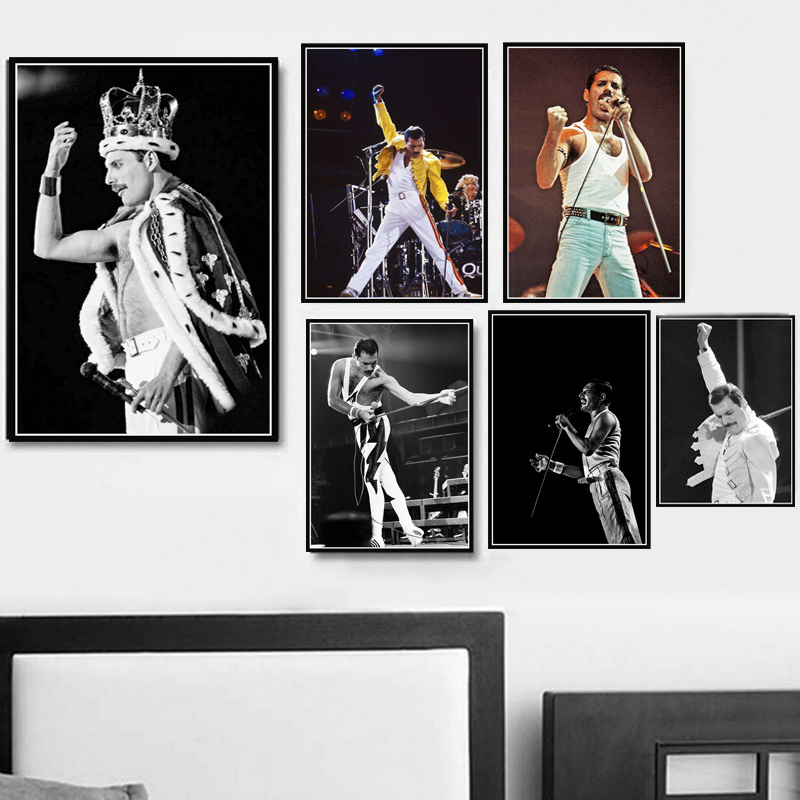 Poster Prints Freddie Mercury Queen Musician Rock Band Legendary Pop Star Painting Art Wall Pictures For Living Room Home Decor