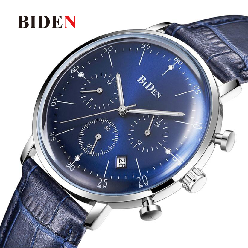 BIDEN Brand Fashion Casual Men Blue Watch Luxury Quartz Men Wristwatches Leather Creative Calendar Male Watch Relogio Clock 2018 цена 2017