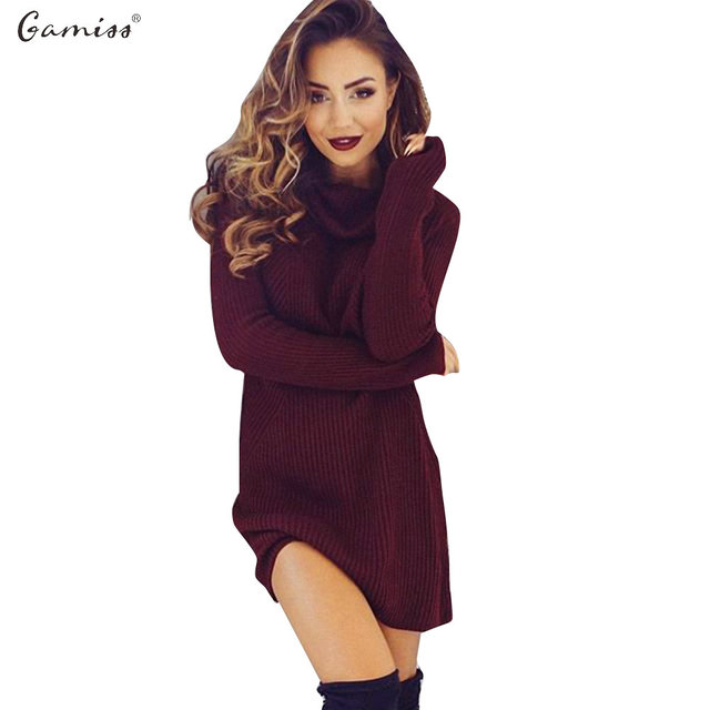 17f77a7c2cfc0 Gamiss Women Autumn Winter Sweater Dresses Slim Turtleneck Sexy Bodycon  Solid Color Knitted Mini Dress Bodycon Stretch Dresses