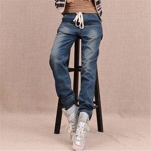 Image 3 - Arrival Winter Warm Jeans Women Thicken Fleece Skinny Harem Pants Trousers Elastic Waist Denim Trousers Plus Size Pants C1504