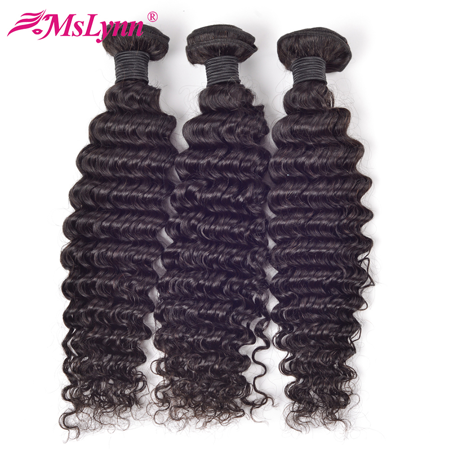 Mslynn Brazilian Deep Wave Bundles Deals Human Hair Weave Bundles 100% Remy Hair Extensions 10-28 Inch Natural Color Can Be Dyed