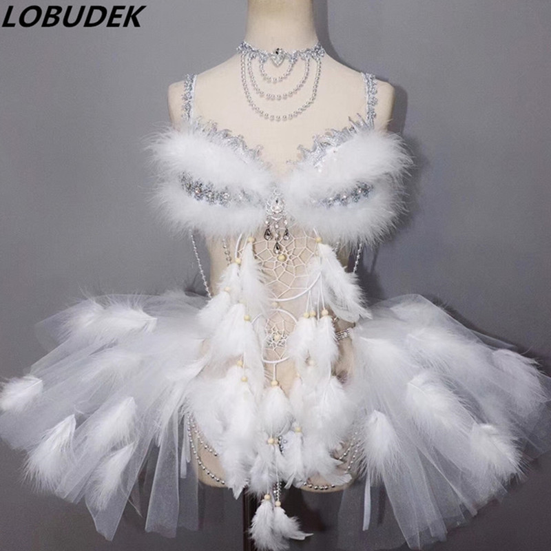 Sexy See-through White Feathers Bodysuits Crystals Bikini Bubble Skirt Set  Women Nightclub Clothing Dancer DJ DS Stage Costumes 8aaf39fcdfc7
