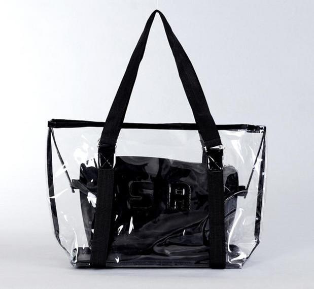 Fashion Summer Beach Bag Women Shopping bag Candy Clear Transparent Handbag Tote Shoulder Bags Beach Bag