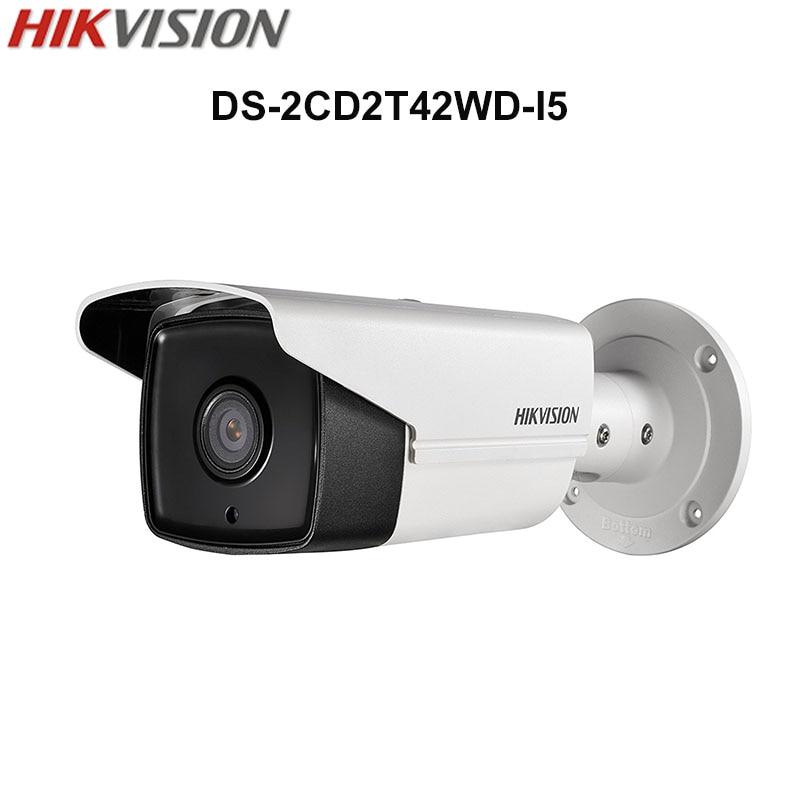In Stock Hikvision Original English Security Camera DS-2CD2T42WD-I5 4MP EXIR IR Bullet IP Camera WDR POE IP67 50m IR CCTV Camera free shipping hikvision ds 2cd2t42wd i3 english version 4mp exir network bullet ip security camera poe 120db wdr 30m ir h 264