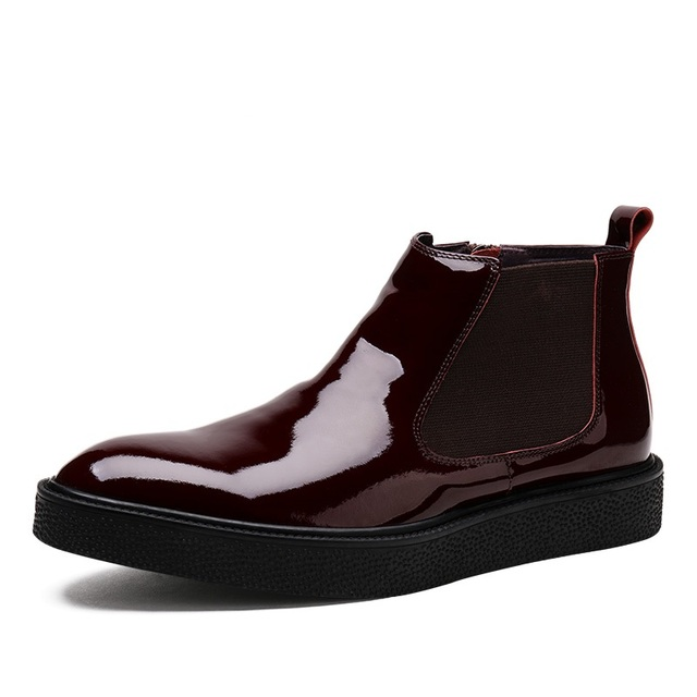 5d9317c64fe Zipper red / black Flats shoes mens ankle boots patent leather winter boots  mens outdoor casual shoes