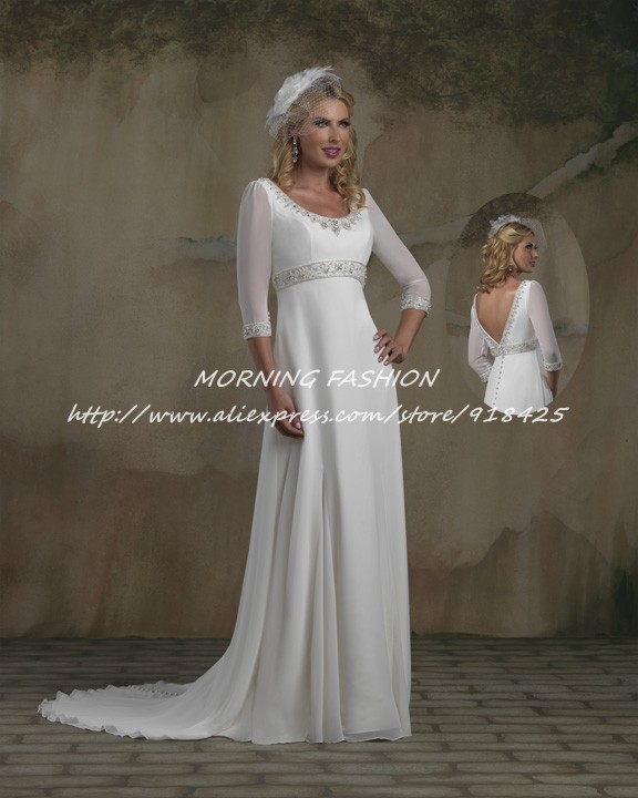 new style beaded modest 3 4 sleeve chiffon wedding dress gowns empire waistline fv030china