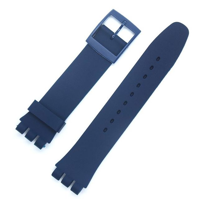 black 17mm 19mm Silicone Rubber Watch Band Straps Men Women Watches Swatch Black