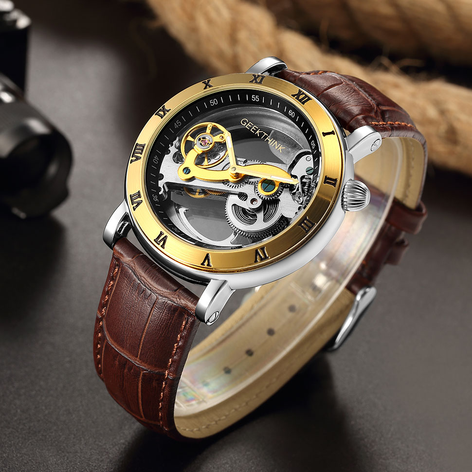Men Automatic Mechanical Watches Male Top Brand High Quality Genuine Leather Skeleton Transparent Hollow Clock Relogio MasculinoMen Automatic Mechanical Watches Male Top Brand High Quality Genuine Leather Skeleton Transparent Hollow Clock Relogio Masculino