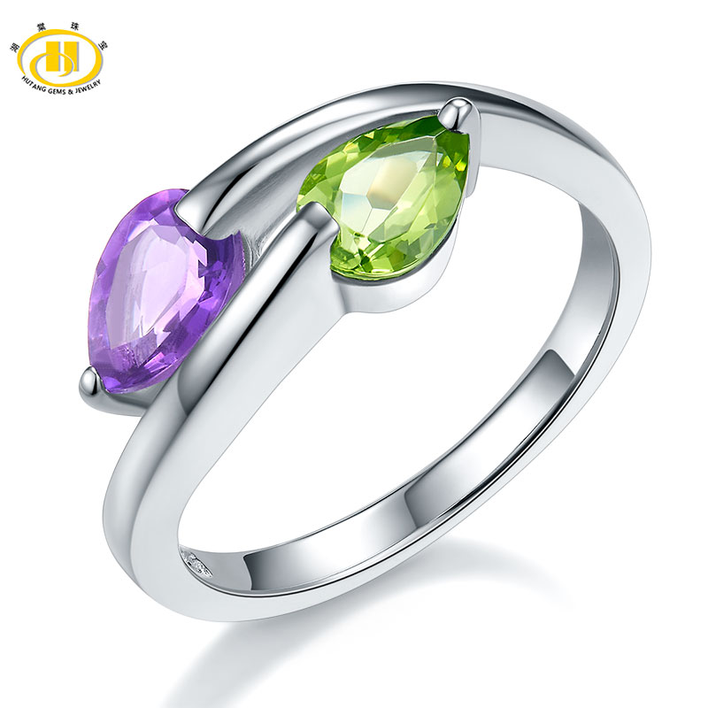 Hutang Wedding Rings Genuine Gemstone Peridot Amethyst Solid 925 Sterling Silver Ring Fine Stone Jewelry For Women's Girls' Gift