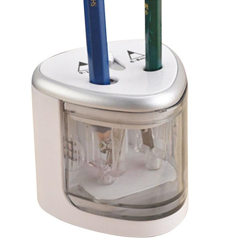 1 pieza Sacapuntas de lápiz eléctrico de plata Sacapuntas de lápiz de plástico de doble agujeros de oficina escolar operada con pilas