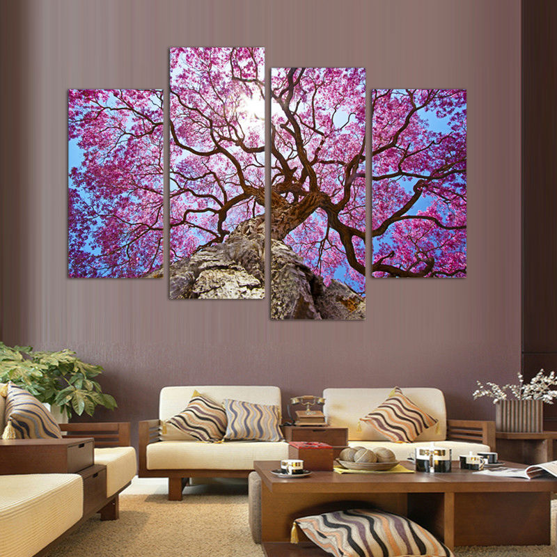 3 Piece Purple Cherry Blossom Muti Panel Abstract Modern: Popular Cherry Blossom Paintings-Buy Cheap Cherry Blossom