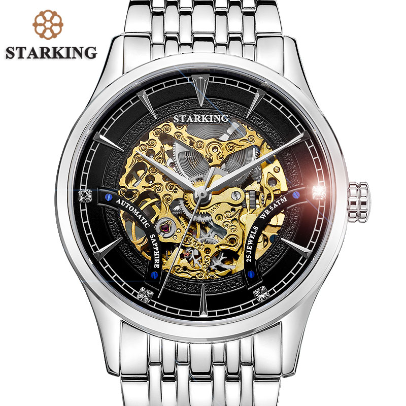STARKING Top Brand Luxury Mechanical Wristwatches Men Fashion Automatic Skeleton Stainless Steel Watches 50m Water Resistant fashion men mechanical hand wind watches men skeleton stainless steel wristwatches for male luxury golden watch men