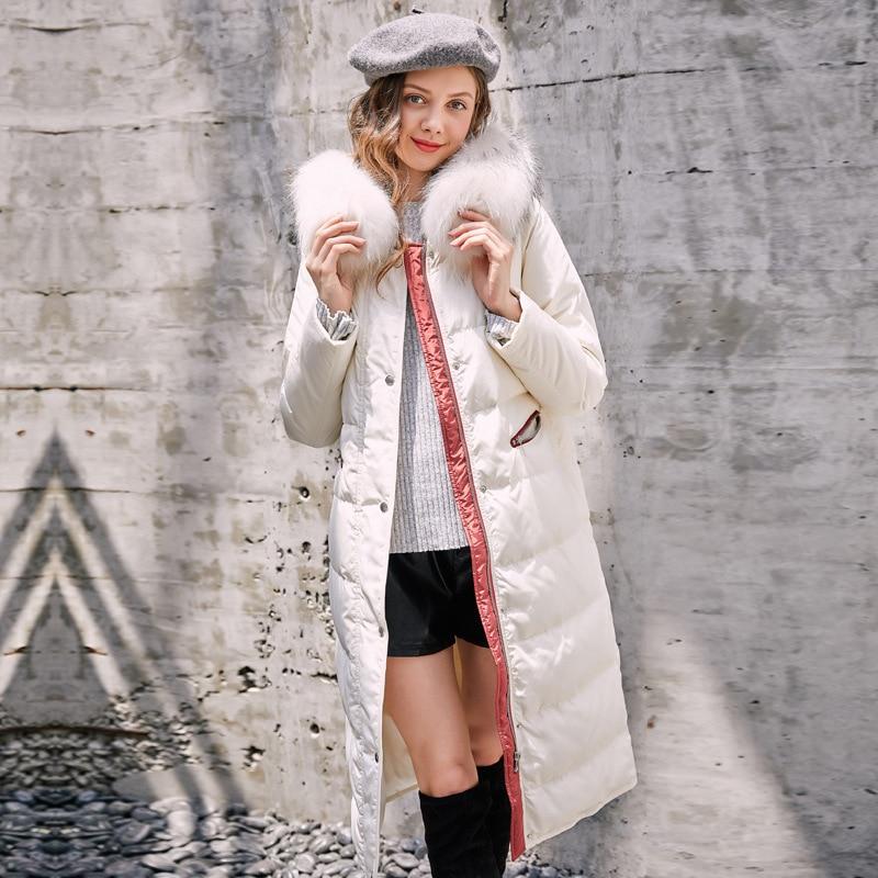 Doudoune Vêtements Dames Outwear Rouge 2018 blanc Long Capuche À Col Grand Manteau Femme Fourrure Parkas De Taille Épaissir Hiver Nouveau IZwBqCn