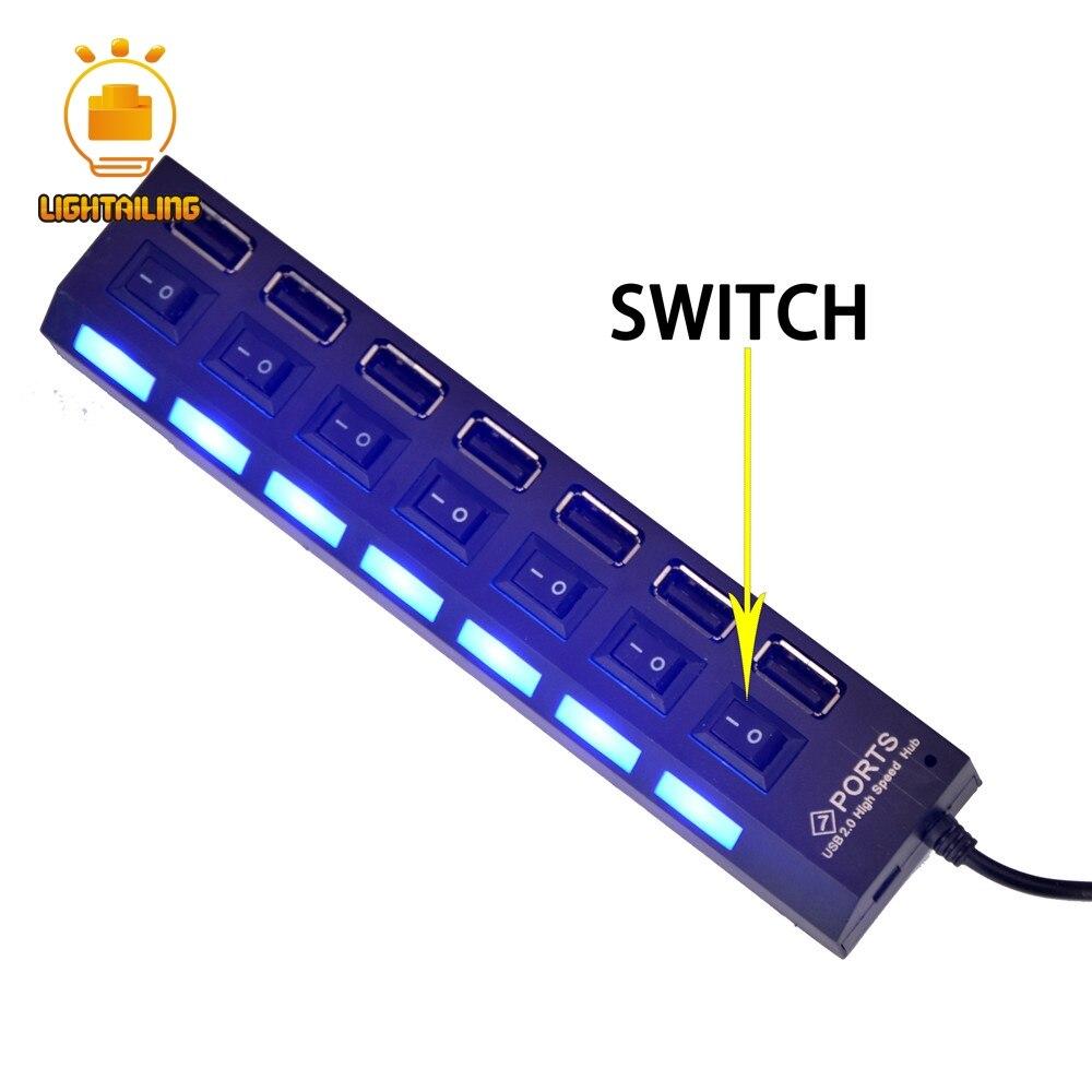 Светильник больного белый/черный usb-хаб с 7 USB Порты и Батарея коробка для блок набор игрушек Led светильник набор