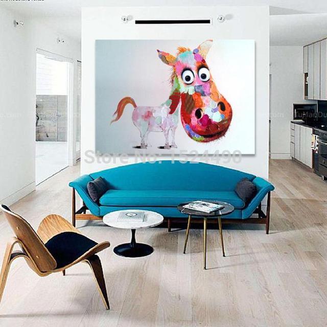 Decor Art Hand Painted Stupid Big Head Rainbow Horse Oil Painting On Canvas  Living Room Home