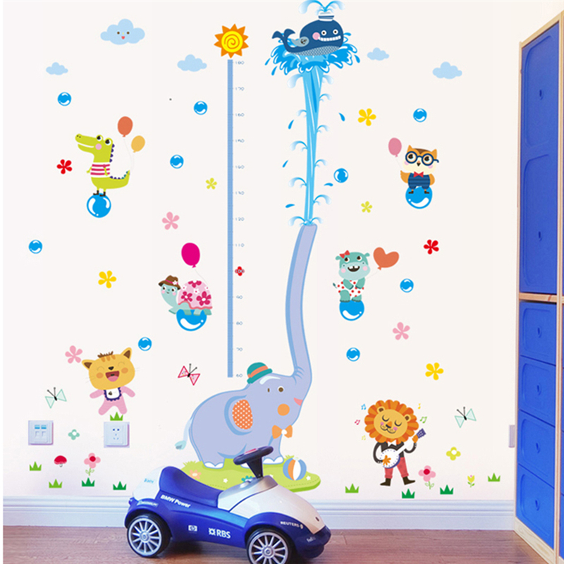Cute Elephant Water Spray Wall Stickers Kids Room Children Height Chart Sticker for Home Decor Height Ruler Stadiometer
