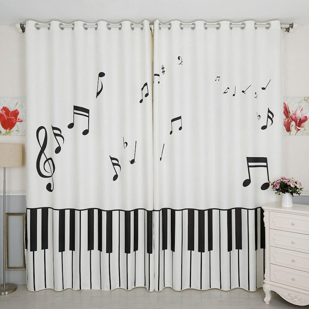 Tailleur personnel 2x oeillet crochet fenêtre rideau pépinière enfants chambre fenêtre Dressing Tulle 200x260 cm Stave Piano clé blanc