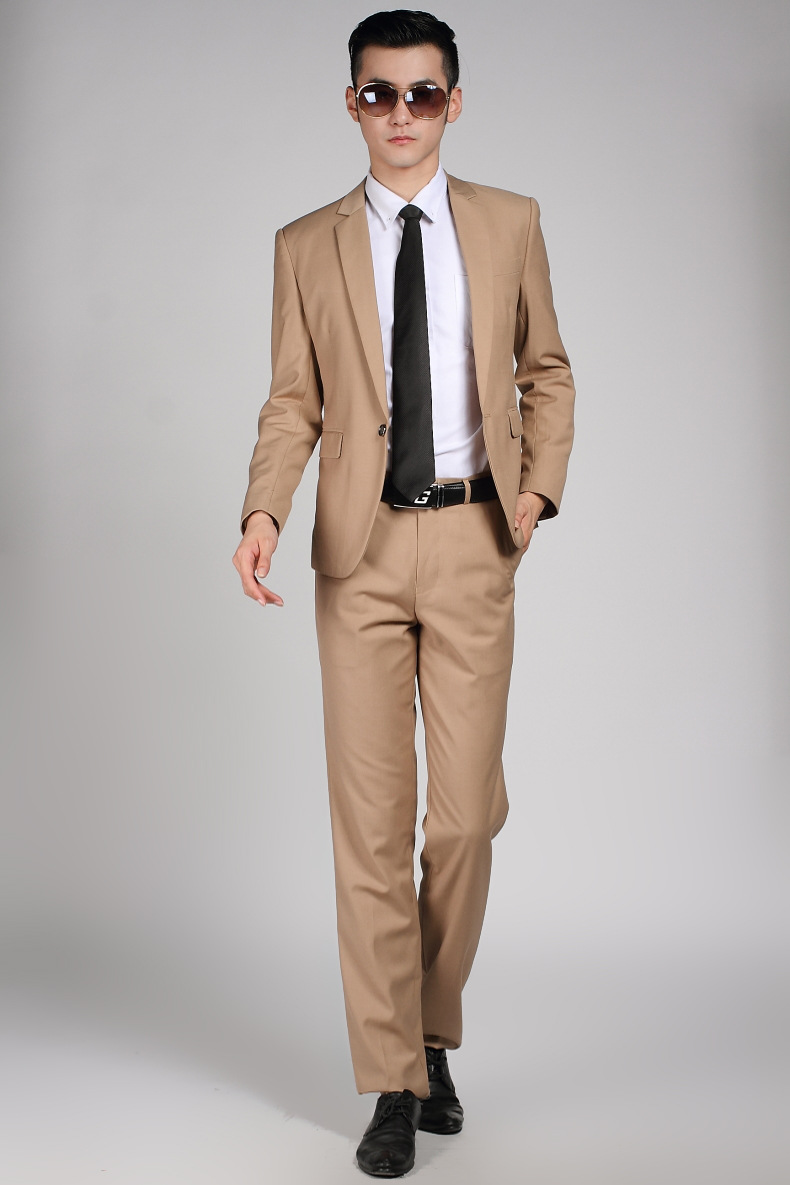 High Quality Men Khaki Suit Wedding Dress Groom Suit Prom Party