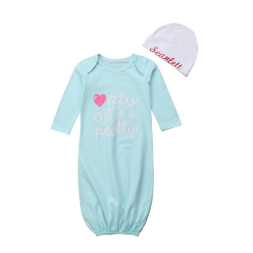 0-6M Newborn Infant Kid Baby Girl Bodysuit Letter Soft Cotton Sleepwear Gown Long Sleeve Nightgown Hat 2Pcs Baby Clothes Outfits