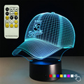 Hot Selling MLB 3D Night Light KC royals Baseball Cap Touch Table Lamp Acrylic Bedroom Lighting Remote Control