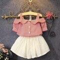 2017 Verão Nova Meninas Encantadoras Princesa Saias Crianças Terno Xadrez T-Shirt Ombro Off White Saia Twinset Conjunto de Roupas Crianças G648