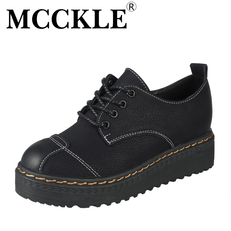 MCCKLE 2017 Fashion Woman Shoes Flat Women Platform Round Toe Lace-up Ladies Office Black Casual Comfortable Spring&Autumn mcckle 2017 fashion woman shoes flat women platform round toe lace up ladies office black casual comfortable spring